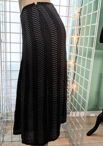 Talbots black white dots silk sheer long skirt